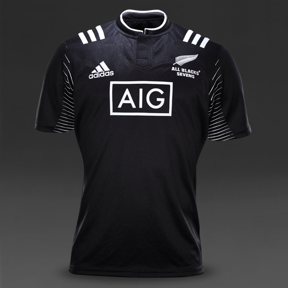 Adidas Rugby Home: New Zealand All Blacks 2015 Adidas Rugby 7s Home Jersey