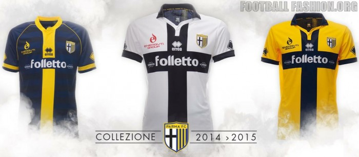 Parma Football Club 2014 2015 Errea Home, Away and Third Football Kit, Soccer Jersey, Maglia, Camisetas