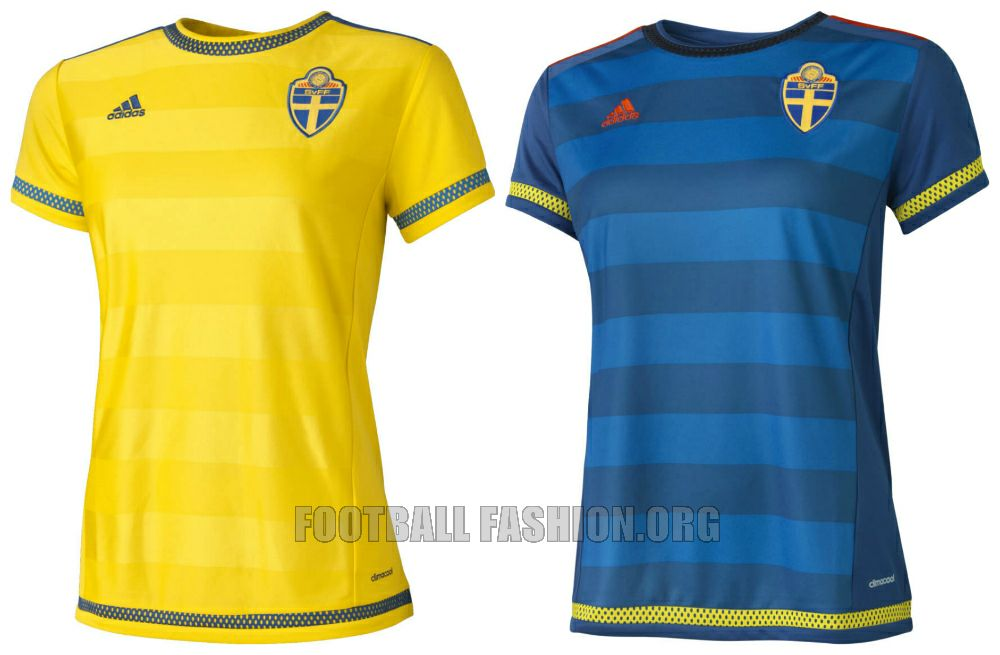 Sweden World Cup 2015 adidas Home and Away Football Kit, Shirt, Soccer Jersey, Landslagströjan, Tröjan