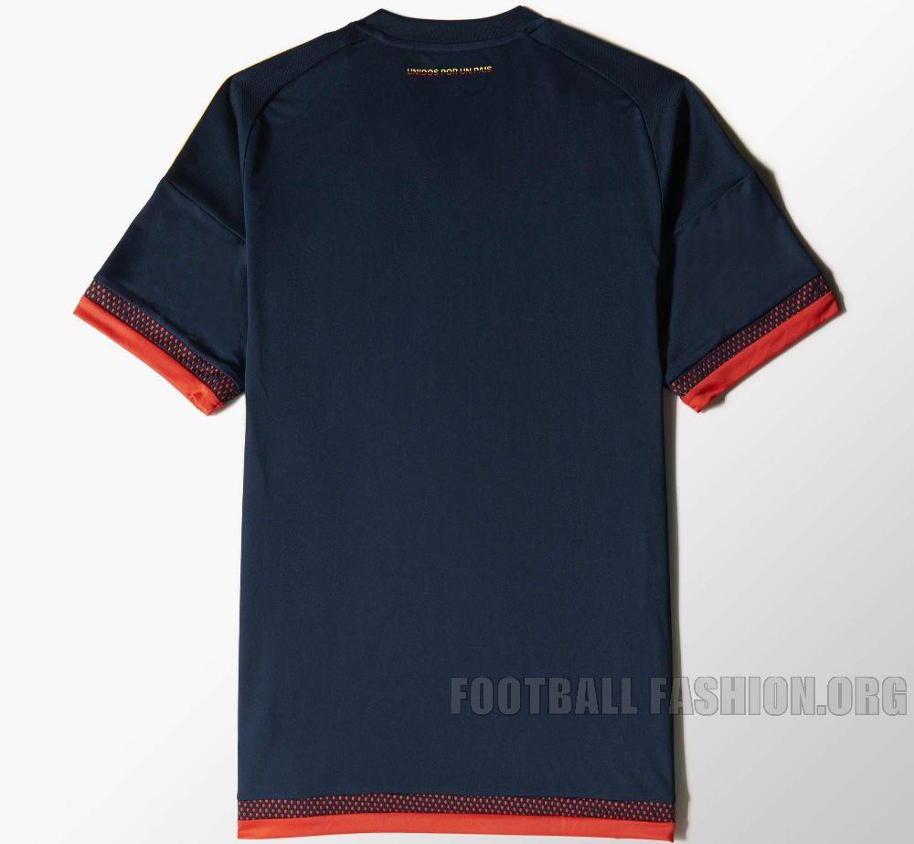 Colombia Yellow 2015 Copa America and World Cup adidas Away Soccer Jersey, Shirt, Football Kit, Camiseta de Futbol Azul
