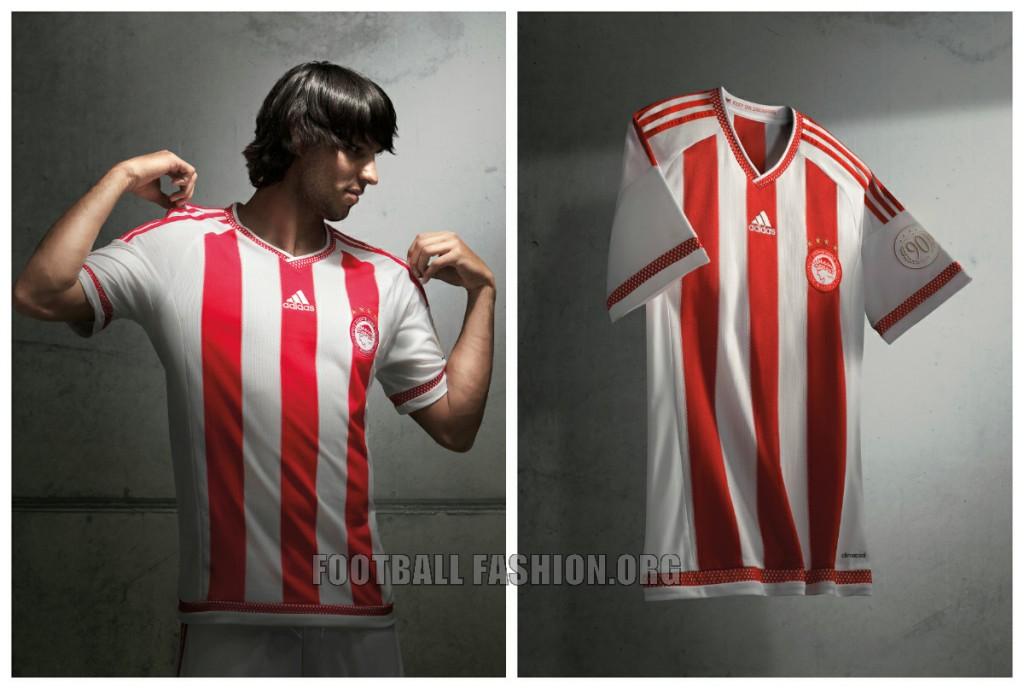 Olympiacos FC 2015 2016 adidas Home Football Kit, Soccer Jersey, Shirt
