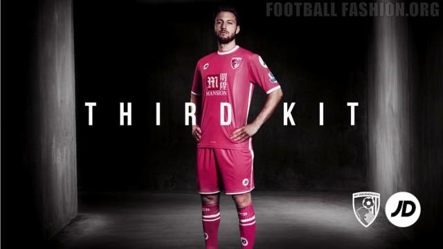 AFC Bournemouth 2015 2016 JD Sports Pink Third Football Kit, Soccer Jersey, Shirt