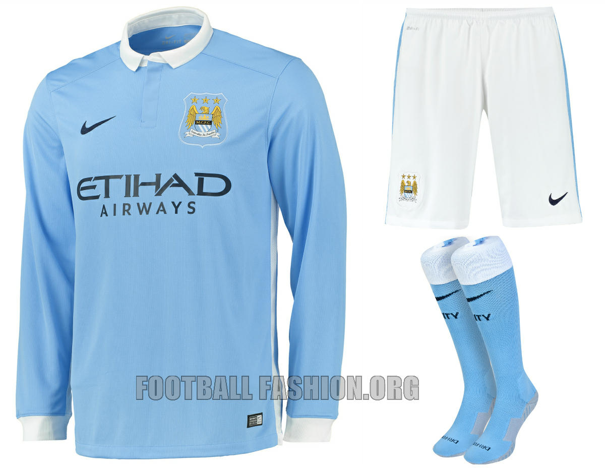 Manchester City Football Club 2015 2016 Nike Home Kit, Soccer Jersey, Shirt, Camiseta, Maillot, Camisa