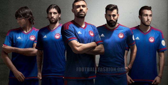 Olympiacos FC 2015 2016 adidas Blue Away and Red Third Football Kit, Soccer Jersey, Shirt