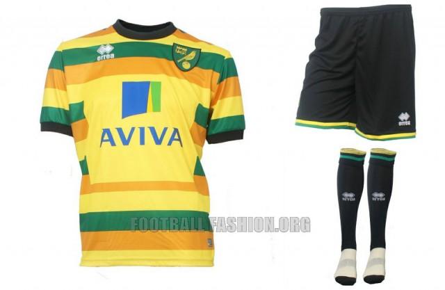 Norwich City FC 2015 2016 Errea Third Football Kit, Soccer Jersey, Shirt