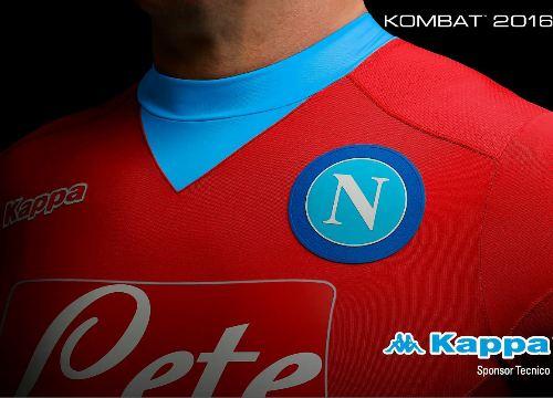 SSC Napoli Red 2015 2016 Kappa Third Football Kit, Soccer Jersey, Shirt, Maglia, Gara, Camiseta