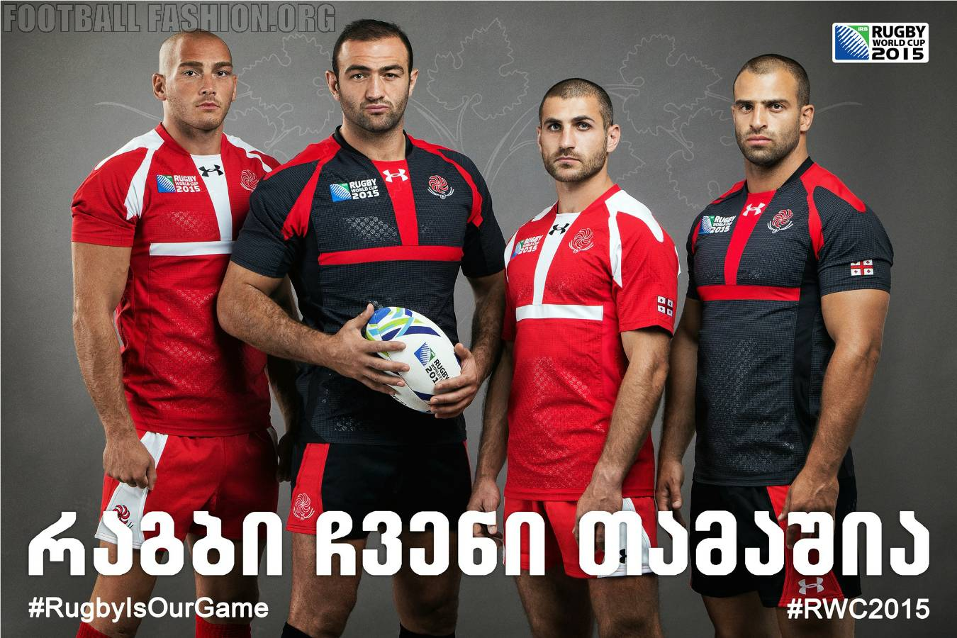 Georgia 2015 Rugby World Cup Under Armour Home and Away Kit, Jersey, Shirt