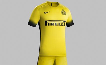 Inter Milan 2015 2016 Nike Yellow Third Soccer Jersey, Football Kit, Shirt, Maglia, Gara, Camiseta, Equipacion, Trikot