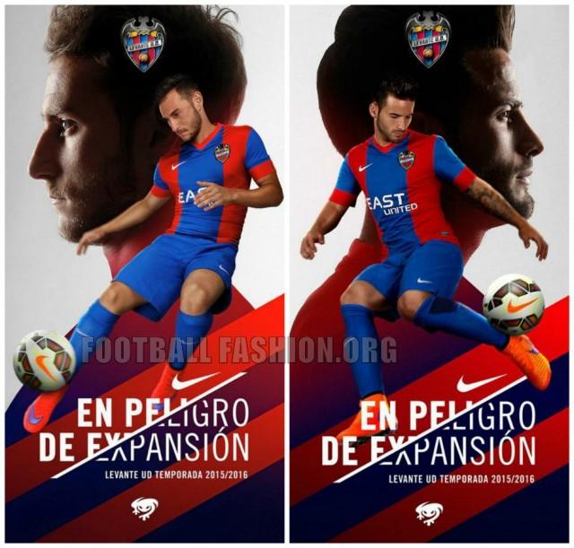 Levante UD 2015 2016 Nike Home, Away and Third Football Kit, Soccer Jersey, Shirt, Camiseta, Equipacion, Playera