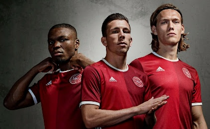 Denmark 2015 2016 adidas Home Football Kit, Soccer Jersey, Shirt, Danmark hjemmebanetrøje