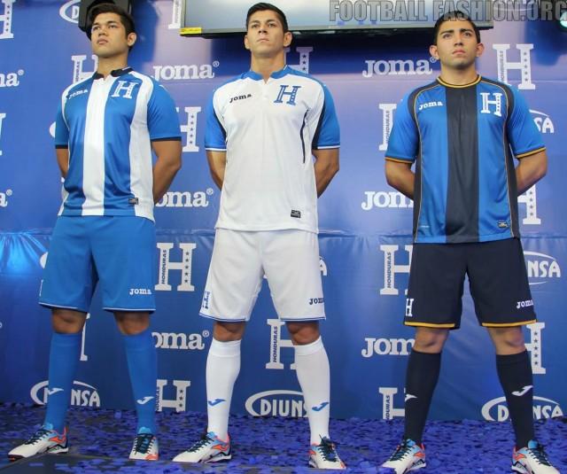 Honduras 2016 2017 Joma Home, Away and Third Soccer Jersey, Football Shirt, Kit, Camiseta, Piel, Equipacion del Rumbo al Mundial 2018