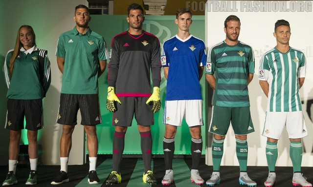 Real Betis 2015 2016 adidas Home, Away and Third Football Kit, Soccer Jersey, Shirt, Equipacion, Camiseta, Piel