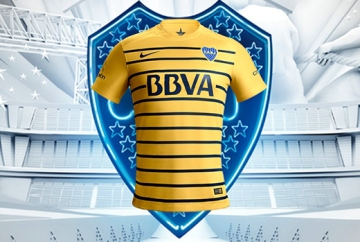 Boca Juniors 2016 Nike Yellow Away Soccer jersey, Football Kit, Camiseta de Futbol Alternativa, Equipacion, Piel, Playera