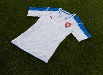 Czech Republic EURO 2016 PUMA White Away Football Kit, Soccer Jersey, Shirt, Venkovní dres národního týmu pro EURO 2016 ve Francii