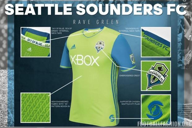 Seattle Sounders 2016 adidas Home and Third Soccer Jersey, Football Kit, Shirt, Camiseta de Futbol MLS