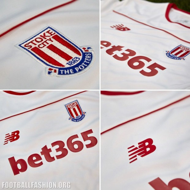 Stoke City 2015 2016 White New Balance Third Football Kit, Soccer Jersey, Shirt
