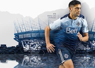 "Vancouver Whitecaps FC 2016 Blue ""Sea to Sky"" adidas Away Soccer Jersey, Football Kit, Shirt, Maillot"