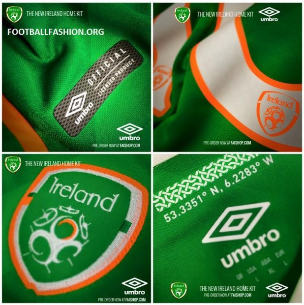 Republic of Ireland EURO 2016 Umbro Home Football Kit, Soccer Jersey, 2017 Shirt