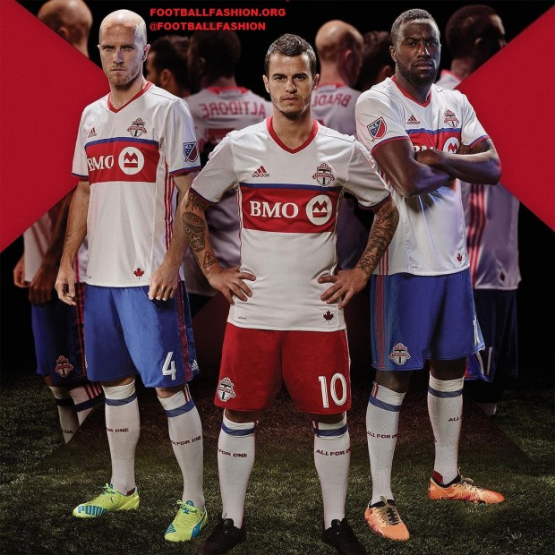 Toronto FC 2016 adidas White Away Soccer Jersey, Football Kit, Shirt, Camiseta de Futbol, Maillot