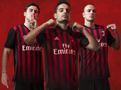 AC Milan 2016 2017 Red and Black adidas Home Football Kit, Soccer Jersey, Shirt, Gara. Maglia, Camiseta, Maillot