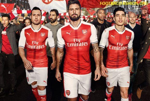 Arsenal Football Club 2016 2017 PUMA Red Home Kit, Shirt, Soccer Jersey, Camiseta, Maillot