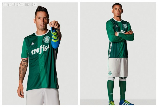 """Thephrase """"Alviverde Imponent"""" from the Palmeiras club hymn is printed on the new kit's inside neckline in a tribute to the team's over seventeen million fans."""