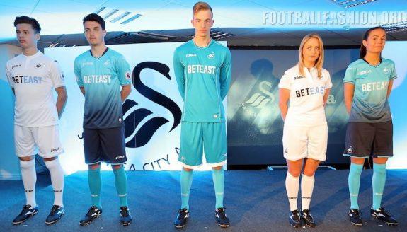 Swansea City 2016 2017 Joma Home and Away Football Kit, Soccer Jersey, Shirt