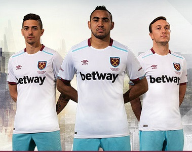 West Ham United 2016 2017 Umbro White Away Football Kit, Soccer Jersey, Shirt, Maillot