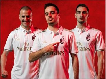 AC Milan 2016 2017 White adidas Away Football Kit, Soccer Jersey, Shirt, Gara. Maglia, Camiseta, Maillot