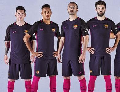 FC Barcelona 2016 2017 Nike Purple Away Football Kit, Soccer Jersey, Shirt, Playera, Maillot, Camiseta, Equipacion de Futbol, Trikot