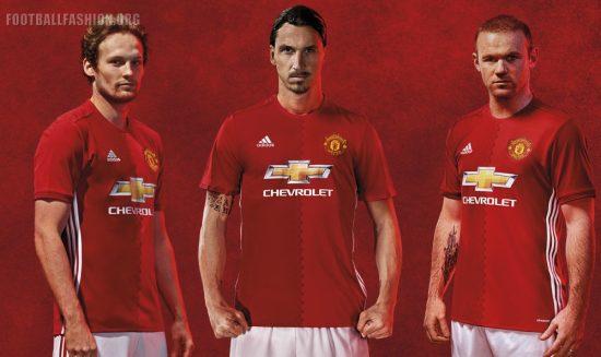 Manchester United FC Red 2016 2017 adidas Home Football Kit, Soccer Jersey, Shirt, Maillot, Camiseta, Gara, Equipacion, Trikot, Tenue
