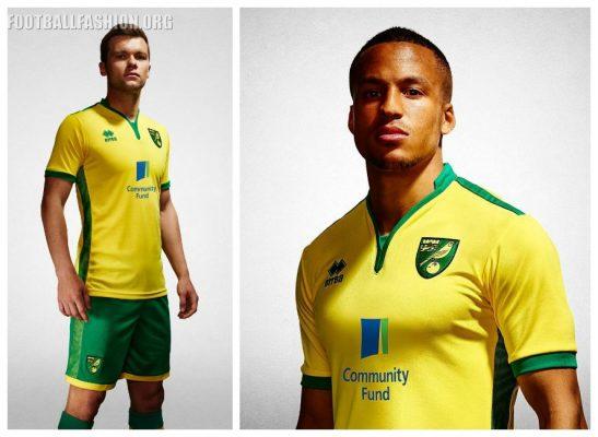 Norwich City Football Club 2016 2017 Errea Home Kit, Soccer Jersey, Shirt