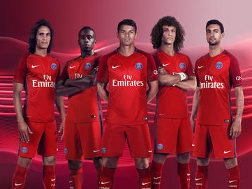 Paris Saint-Germain 2016 2017 Nike Red Away Football Kit, Soccer Jersey, Shirt, Maillot, Camiseta, Camisa, Trikot