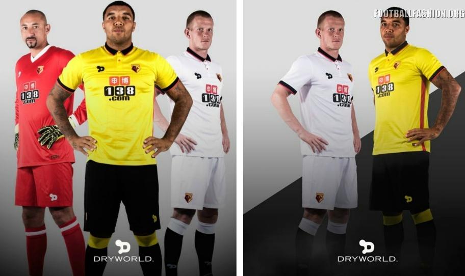 Watford FC 2016 2017 DryWorld Home and Away Football Kit, Soccer Jersey, Shirt