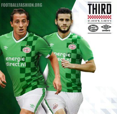 PSV Eindhoven 2016 2017 Umbro Green Third Football Kit, Soccer Jersey, Shirt, Tenue