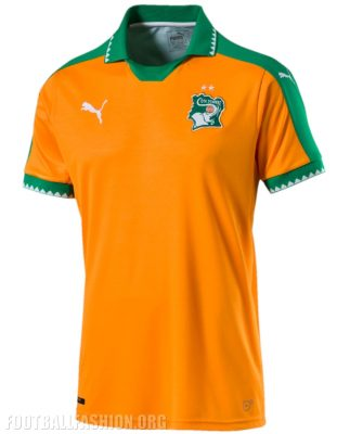 Ivory Coast 2016 Africa Cup of Nations 2017 PUMA Home Football Kit, Shirt, Soccer Jersey, Maillot Côte d Ivoire