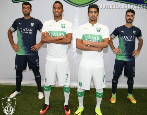 Al-Ahli Saudi FC 2016 2017 PUMA Home and Away Football Kit, Soccer Jersey, Shirt