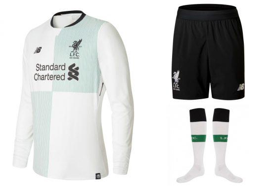 Liverpool FC 125th Anniversary 2017 2018 New Balance White Away Football Kit, Soccer Jersey, Shirt, Camiseta de Futbol, Camisa, Maillot, Trikot, Tenue