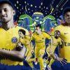 Paris Saint-Germain 2017 2018 Nike Yellow Brazil Away Football Kit, Soccer Jersey, Shirt, Camisa, Camiseta, Trikot, Maillot