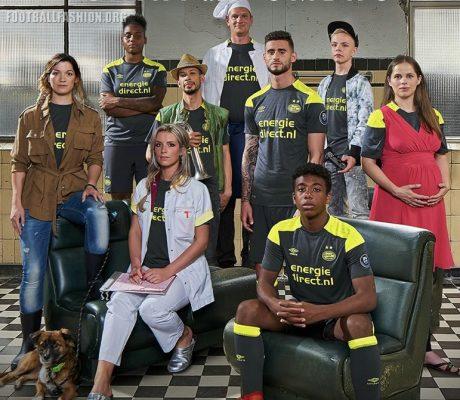 PSV Eindhoven 2017 2018 Umbro Away Football Kit, Soccer Jersey, Shirt, Uitshirt, Tenue
