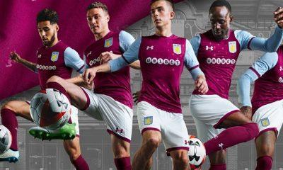 Aston Villa 2017 2018 Under Armour Home and Away Football Kit, Soccer Jersey, Shirt