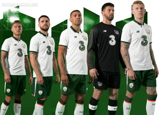 Republic of Ireland 2017 2018 New Balance White Away Football Kit, Soccer Jersey, Shirt, Uniform