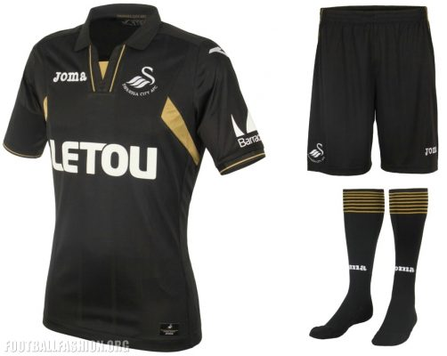 Swansea City 2017 2018 Joma Black Third Football Kit, Soccer Jersey, Shirt, Maillot, Camiseta, Camisa, Trikot