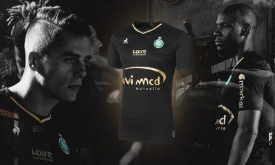AS Saint-Étienne 2017 2018 le coq sportif Black Third Football Kit, Soccer Jersey, Shirt, Maillot
