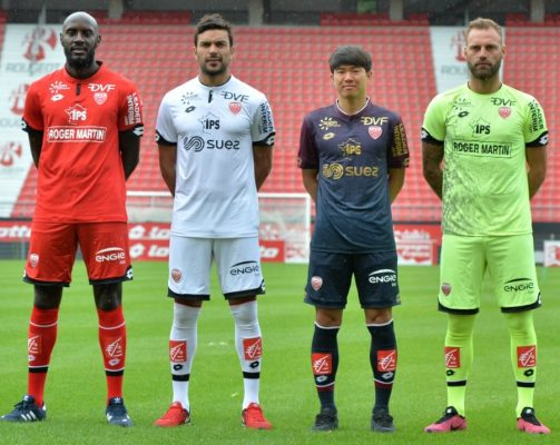Dijon FCO 2017 2018 Lotto Home, Away and Third Football Kit, Soccer Jersey, Shirt, Maillot