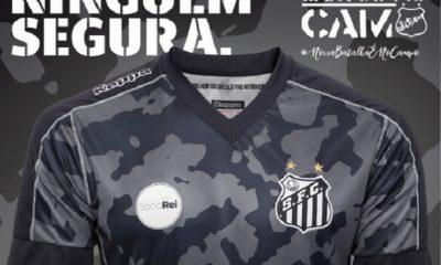 Santos FC 2017 2018 Kappa Camo Third Football Kit, Soccer Jersey, Shirt, Camisa do Futebol III