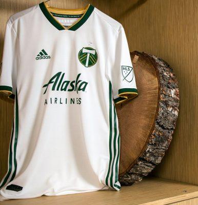 Portland Timbers 2018 adidas White Away Soccer Jersey, Football Kit, Shirt, Camiseta de Futbol