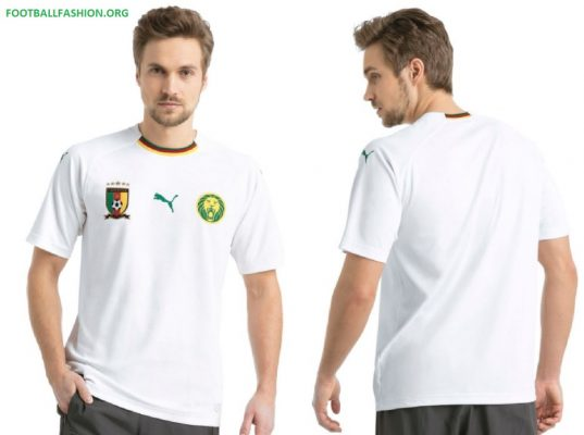 Cameroon 2018 2019 PUMA White Away Football Kit, Soccer Jersey, Shirt, Maillot Cameroun
