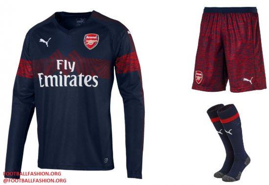 Arsenal FC 2018 2019 PUMA Blue Away Football Kit, Soccer Jersey, Shirt, Maillot, Camiseta, Camisa, Trikot, Tenue, Equipacion