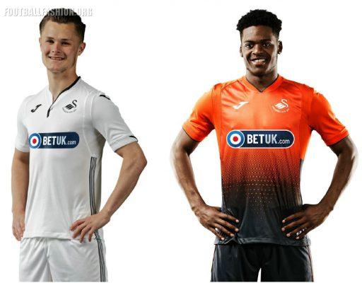 Swansea City 2018 2019 Joma Home and Away Football Kit, Soccer Jersey, Shirt